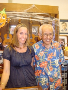 The author with Fred Kamaka Sr.