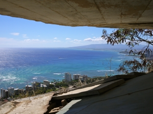 View from the concrete brow of Diamond Head. Copyright Christine Thomas 2012